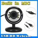 Kompiuterio kamera su apšvietimu ir mikrofonu (HD, 6 LED)
