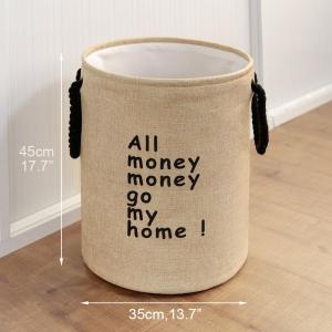 """Medvilninė daiktadėžė """"Visi pinigai pinigučiai ateikit namučio"""""""
