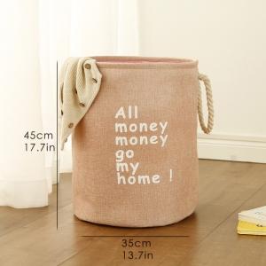 """Medvilninė daiktadėžė """"Visi pinigai pinigučiai ateikit namučio 2"""""""