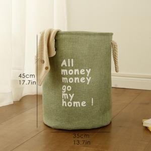 """Medvilninė daiktadėžė """"Visi pinigai pinigučiai ateikit namučio 3"""""""