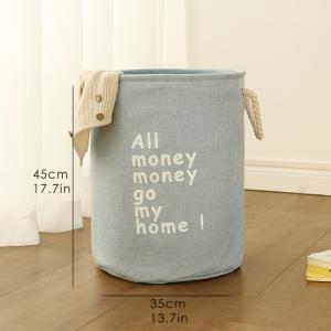 """Medvilninė daiktadėžė """"Visi pinigai pinigučiai ateikit namučio 4"""""""