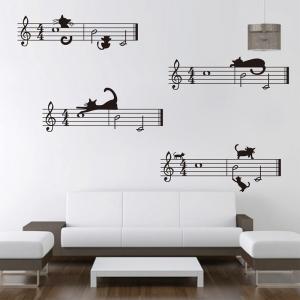 """Sieniniai lipdukai """"Muzika ir katinai"""" (balti)"""