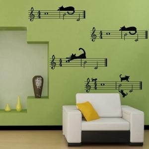 """Sieniniai lipdukai """"Muzika ir katinai"""""""
