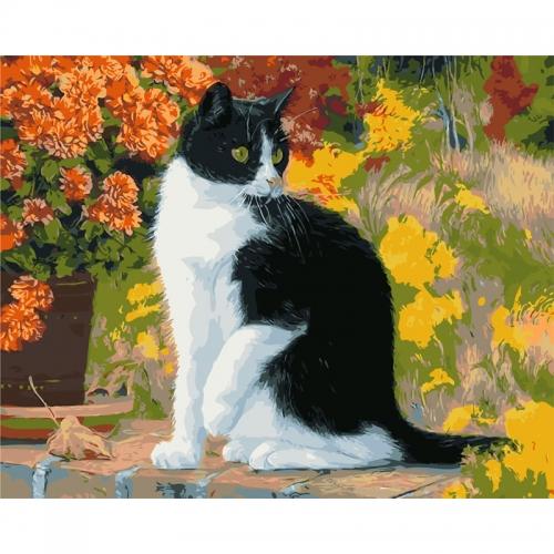 """Paveikslas """"Puikusis katinas žydinčiame sode prie gėlės"""""""