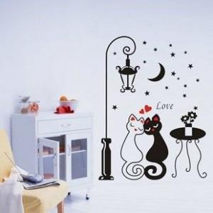 """Sieninis lipdukas """"Įsimylėję katinai"""""""