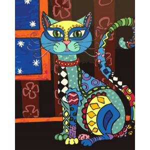 """Paveikslas """"Puikioji spalvotoji katė įdėmiai į tave žūrinti"""""""