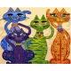 """Paveikslas """"Keturi spalvoti linksmi katinai"""" (40x50 cm)"""