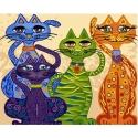 """Paveikslas """"Keturi spalvoti linksmi katinai"""" (50x65 su rėmeliu)"""