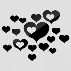 """Veidrodiniai lipdukai """"Meilės širdelės"""" (40 x 60 cm)"""