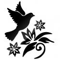 """Veidrodiniai lipdukai """"Paukštis ir žiedai"""" (45 x 45 cm)"""