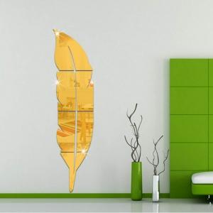"""Veidrodinis lipdukas """"Auksinė plunksna"""" (18 x 73 cm)"""