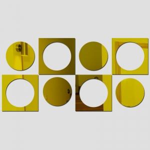 """Veidrodiniai lipdukai """"Rutuliai ir kvadratai"""" (30 x 60 cm)"""