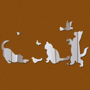 """Veidrodiniai lipdukai """"Katinai ir paukšteliai"""" (40 x 60 cm)"""