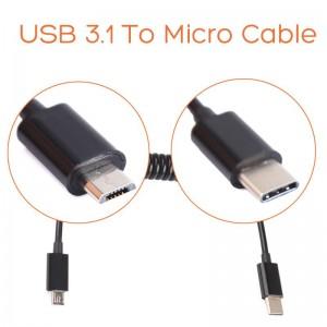 USB 3.1 į Micro spyruoklinis kabelis