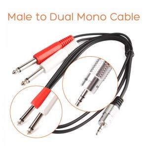3.5mm stereo į 2 mono kabelis