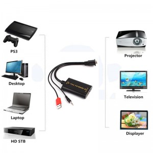 VGA į HDMI keitiklis (1080P HD Audio AV Video 3.5mm + USB Cable Adapter)