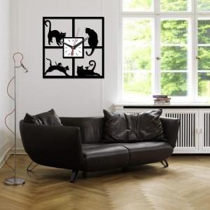 """Sieninis laikrodis """"Stilingi katinai 2"""" (sidabrinės spalvos rodyklės)"""