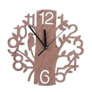 """Sieninis laikrodis """"Medis ir paukštelis"""" (22 x 22 cm, medinis)"""