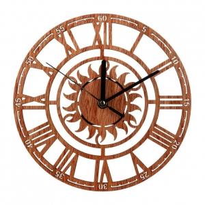 """Sieninis laikrodis """"Saulės ratas"""" (medinis, 23 x 23 cm)"""