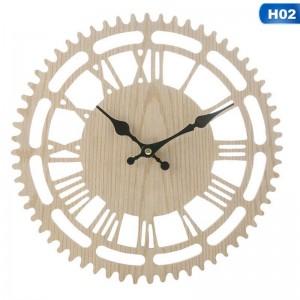 """Sieninis laikrodis """"Romėniški skaičiukai 2"""" (23 x 23 cm, medinis)"""