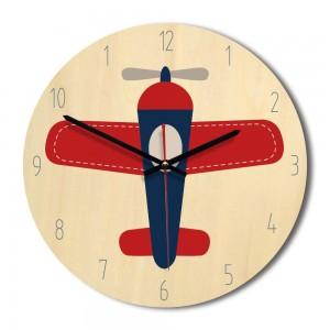 """Sieninis laikrodis """"Lėktuvas Tuvas"""" (30 x 30 cm, medinis)"""
