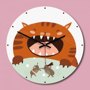 """Sieninis laikrodis """"Piktas katinas"""" (30 x 30 cm, medinis)"""