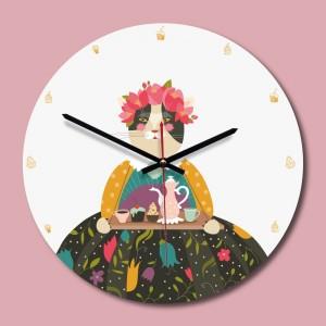 """Sieninis laikrodis """"Katytė murmulytė"""" (30 x 30 cm, medinis)"""