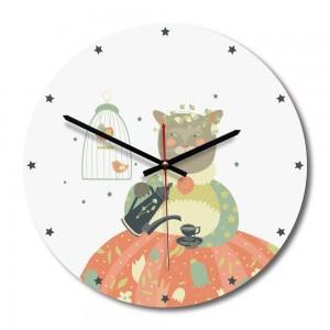 """Sieninis laikrodis """"Katytė murmulytė 2"""" (30 x 30 cm, medinis)"""