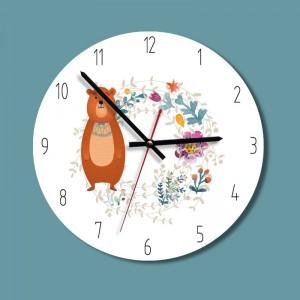 """Sieninis laikrodis """"Meškiukas rudnosiukas"""" (30 x 30 cm, medinis)"""