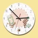 """Sieninis laikrodis """"Gėlytės ir bitutė"""" (30 x 30 cm, medinis)"""