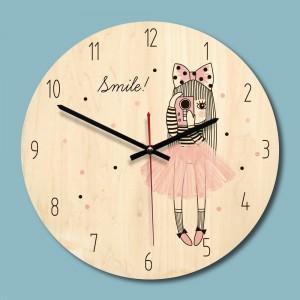 """Sieninis laikrodis """"Šypsenėlė"""" (28 x 28 cm, medinis)"""