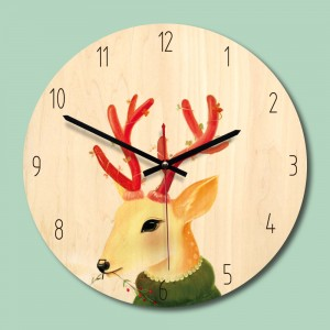 "Sieninis laikrodis ""Nuostabusis elniais"" (30 x 30 cm, medinis)"
