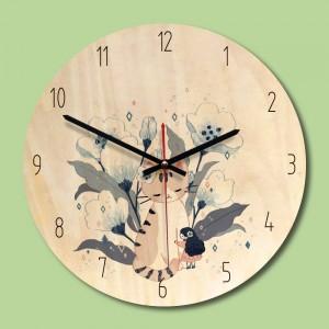 """Sieninis laikrodis """"Katytė ir mergaitė"""" (30 x 30 cm, medinis)"""