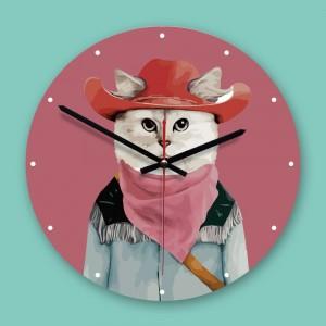 """Sieninis laikrodis """"Katinas kaubojus"""" (30 x 30 cm, medinis)"""