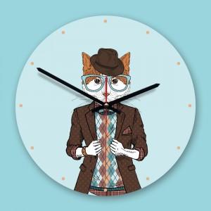"""Sieninis laikrodis """"Katinas inteligentas"""" (30 x 30 cm, medinis)"""