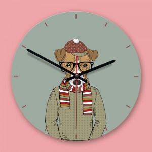 """Sieninis laikrodis """"Mielas šuo"""" (30 x 30 cm, medinis)"""