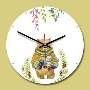 """Sieninis laikrodis """"Meškiukas nuostabusis"""" (28 x 28 cm, medinis)"""