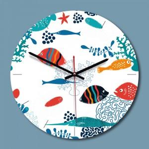 """Sieninis laikrodis """"Vandenyno pasaulis"""" (28 x 28 cm, medinis)"""