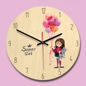 "Sieninis laikrodis ""Super mergaitė"" (28 x 28 cm, medinis)"