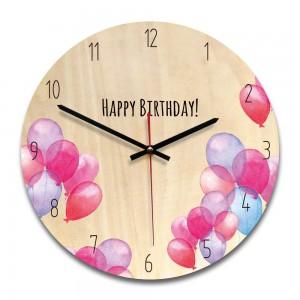 """Sieninis laikrodis """"Su gimimo diena!"""" (28 x 28 cm, medinis)"""