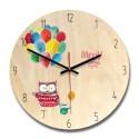 """Sieninis laikrodis """"Pelėdukių porelė"""" (28 x 28 cm, medinis)"""