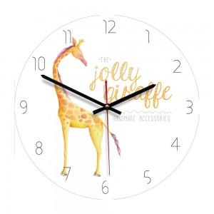 """Sieninis laikrodis """"Nuostabiausioji žirafa"""" (28 x 28 cm, medinis)"""