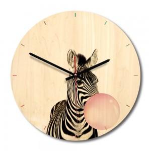 """Sieninis laikrodis """"Linksmasis zebriukas"""" (28 x 28 cm, medinis)"""