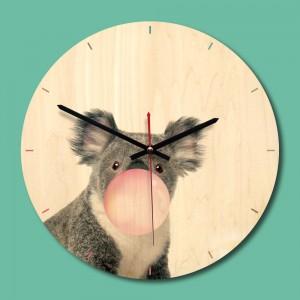 """Sieninis laikrodis """"Linksmoji koala"""" (28 x 28 cm, medinis)"""