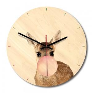 """Sieninis laikrodis """"Linksmoji stirnaitė"""" (28 x 28 cm, medinis)"""