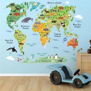 """Lipdukas """"Pasaulio žemėlapis vaikams"""" (70 x 90 cm)"""