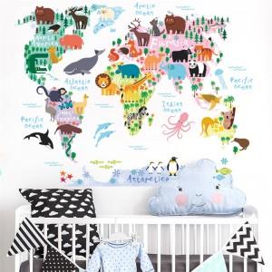 """Lipdukas """"Pasaulio žemėlapis vaikams 2"""" (70 x 90 cm)"""