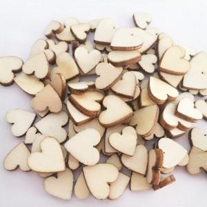 "Medinės figūrėlės ""Vestuvinės širdelės"" (100 vnt., 6,8,10,12 mm)"