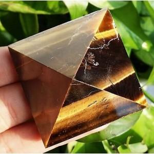 """Figūrėlė """"Piramidė"""" (akmuo """"tigro akis"""", 5 cm, 100 g.)"""