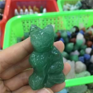 """Figūrėlė """"Žaliasis reiki katinas"""" (avanturinas, 5 cm)"""